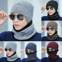 Mens Hat Winter Beanie Loose Warm Wool Fleece Snow Ski Cap Scarf Neckerchief Set