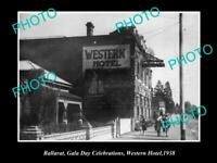 OLD POSTCARD SIZE PHOTO OF BALLARAT VICTORIA VIEW OF THE WESTERN HOTEL c1938