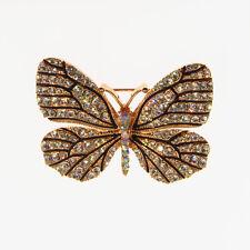 "Butterfly Pin Brooch Costume Jewelr Crystal Rhinestone Clear Enamel Gold T 1.8"""