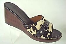 H.S. Trask Western Cowboy Cow Hair Animal Print Wedge Slide Sandals ~ 7.5M