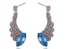Crystal Elements Blue Marquise Sapphire Angel Wing Fashion Ear Ring ALAs