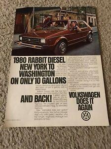 Vintage 1980 VOLKSWAGEN VW RABBIT DIESEL Car Print Ad BROWN RARE
