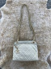 Vintage Authentic Chanel 1980's Leather Quilted Crossbody Chain Strap Purse