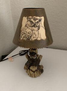 Rustic Metal Owl Lamp Paper Artistic Depiction Earth Tone Resin