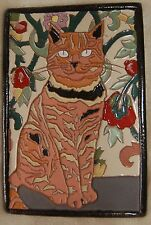 Art Deco Arts and Crafts set of TWO CAT tiles tile Cat Lovers