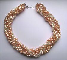 """18"""" d'acqua dolce bianco e rosa perla Dichiarazione Collana Argento Sterling risultati"""
