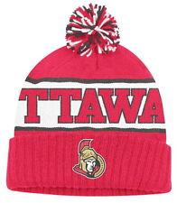 OTTAWA SENATORS NHL WRAPAROUND NAME RETRO Cuffed Pom Knit Beanie Hat Ski Cap