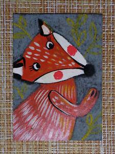 ACEO original pastel painting outsider folk art brut #010486 surreal funny fox