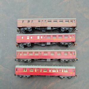 Jouef Playcraft HO Gauge Model Railways Maroon Coaches x 4 inc Restaurant Car.
