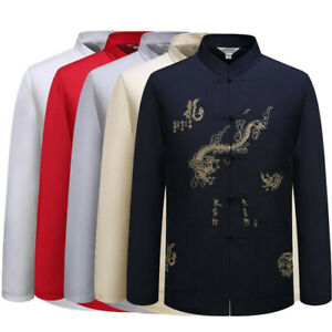 Men Traditional Chinese Tang Suit Coat Jacket Wing Chun Kungfu Tai Chi Uniform