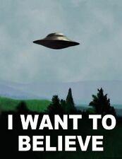 "I Want To Believe - X Files Art Movie Film UFO  Fabric Poster 17"" x13"" Decor 02"