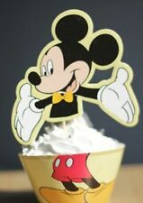 NEW MICKEY MOUSE YELLOW XL CUPCAKE PICKS AND WRAPPERS  (12)