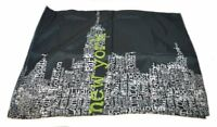 NEW YORK CITYSCAPE Black Lime Green White STANDARD PILLOW SHAM NEW NYC