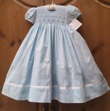 NWT STRASBURG Boutique 24M 2 2T Crystal Blue Hand Smocked Pageant Party Dress
