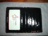 New Lodis Another Line Genuine Patent Leather 6 Credit Card Case Window Zipper
