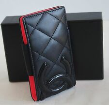 CHANEL Black Quilted Cambon Ligne Leather w/ Patent Logo Case, IPod Small Cell