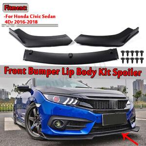 For 2016-2019 Honda Civic Hatchback 3PCS Front Bumper Lip Body Kit Spoiler Wing
