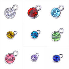 50pc Alloy Gold Silver Color Birthstone Crystal Char Pendant For Jewelry Making