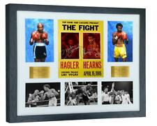 More details for a3+ signed hagler v hearns fight poster photograph photo autograph picture frame
