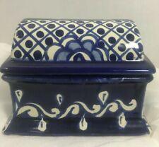 Talavera Blue White Floral Polka Dot Recipe / Trinket Box w/ lid Mexico Ceramic