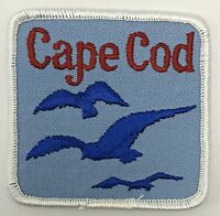 Vintage Cape Cod Massachusetts Souvenir Patch Square Blue Seagulls