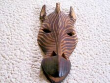 Authentic African Kenya Hand Carved/Stained Zebra Mask Wall Decor 11""