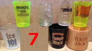 Liquor Brands ADVERTISEMENT Assortment 7 SHOT GLASSES Glass Glassware Jiggers