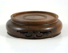 """Vintage Asian Carved Wood Jar Vase Figurine Stand Pedestal Walnut Finish 3.5"""""""