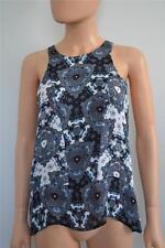 NWT A.L.C. 2013 Black/Blue/White Pattern Silk Sheer Sleeveless Blouse, S, $328