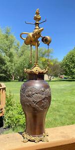 Antique Japanese Meiji Bronze Vase Mounted in EF Caldwell Gilt Bronze Lamp