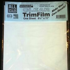 Microscale Decal Paper Clear Laser Water-Slide Trim Film 8.5 x 11 (1-10 sheets)