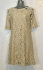 Wallis Vintage Lace Beige Dress With Gold Zip Size M New With Tags