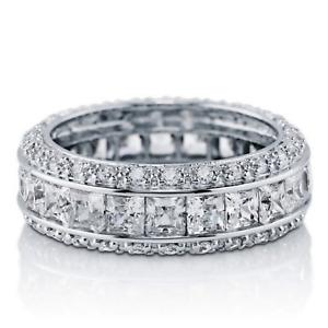 Sterling Silver AAAA Cubic Zirconia Channel Set Eternity Ring