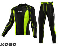 Mens Compression Shirt & Tights Set Running Base Layer Fit Set Gym Skin - NEW