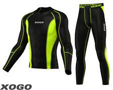 Mens Compression Shirt & Tights Set Running Base Layer Fit Set Gym Skin - NEW