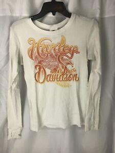 Harley Davidson womens Long Sleeve Ft Worth White Shirt Medium