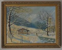 Winter Landscape- Cottage with Tress & Snow Oil Painting by A.R.C.A Signed