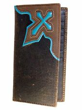 Nocona Mens Western Brown Rodeo Leather Wallet Turquoise Cowboy Cross