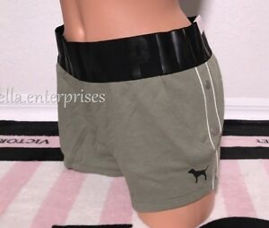 Victoria's Secret Pink Sagrebrush Green Black Side Snap Logo Varsity Short - L