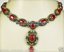 Gemstone Silver Wedding Necklace Jewelry Vintage 13.76cts Pave Rose Cut Diamond