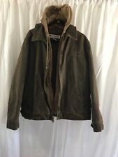 Columbia Men's Distressed Faux-Leather Bomber Jacket Sz XL Brown Removable Hood