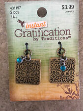 Instant Gratification by Traditions 2 pcs Earring Charm Antique Gold Blue Square