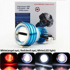 Motorcycle LED Projector Headlight Devil Angel Eye Hi/Lo Super Bright Universal