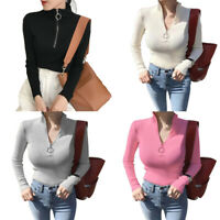 Women Solid Zipper Long Sleeve Sweater Knitted Top Turtleneck Slim-fit Blouse