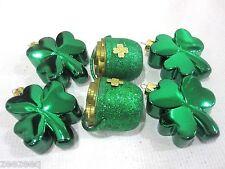 Lot of (6) St Patricks Day Shiny Shamrock & Pot Of Gold Ornaments Decorations