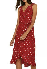 Oasis Red Polka Dot Frill Midi Dress Size 12 SOLD OUT