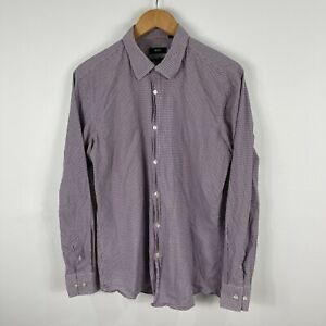 Hugo Boss Mens Button Up Shirt Size 41 Large Slim Multicolored Long Sleeve 58.11