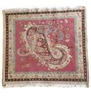 antique Turkish Prayer Rug -rose- Paisley Theme Wool - Square