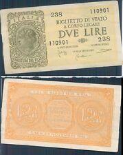 """2 LIRE """" ITALIA LAUREATA"""" DEC. 23 NOVEMBRE 1944 SPL"""