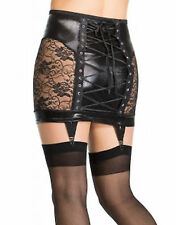 Latex Look Black Skirt With Suspenders Lace Up Back See Through Lace